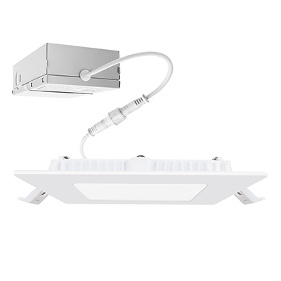 4INCH Square Slim LED Reccesed Light with Junction Box, 9W, Dimmable, 3000K-4000K-5000K Selectable